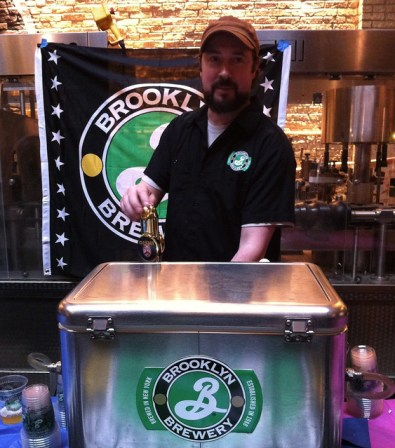 Brewer Tom Villa pouring his Oishi at Brooklyn Brewery