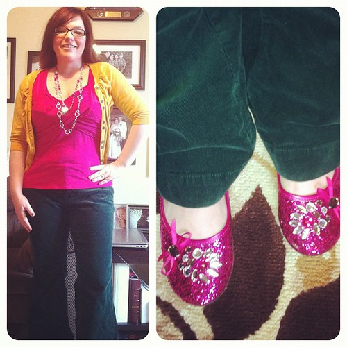 Today's green involves a few other bold colors. Also green pants #ftw #17daysofgreen