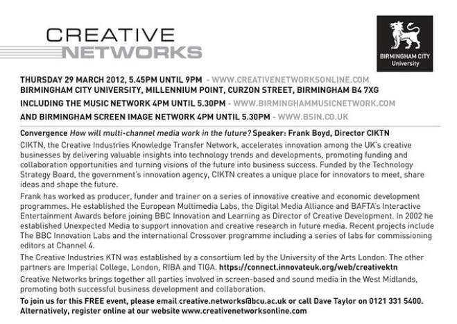 Creative Networks Thursday 29th March 2012