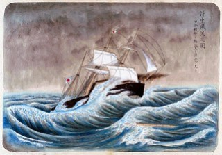 Japanese Ship in a Storm