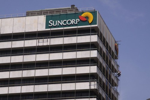 Upper levels of the Suncorp building, repairs being carried out to the marble facade panels