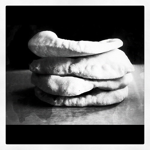 Pita bread freshly baked.