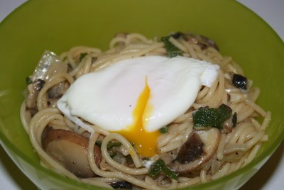 mushroom and sage pasta with poached egg