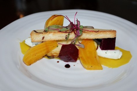 Apple cider marinated beet salad. Herb goat cheese, toasted brioche