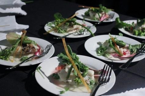 Halibut from @KaleNori #cookingforacause stinging nettle pesto and rhubarb gastric