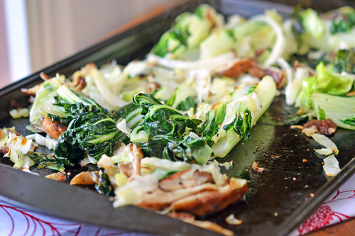 Wasabi Salmon with Bok Choy Green Cabbage and Shiitakes 11