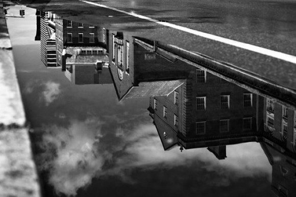 South Main Street facades in a puddle