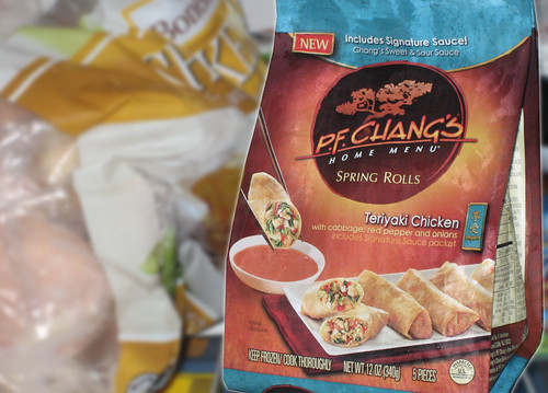 PF Chang's Home Menu Spring Rolls in freezer