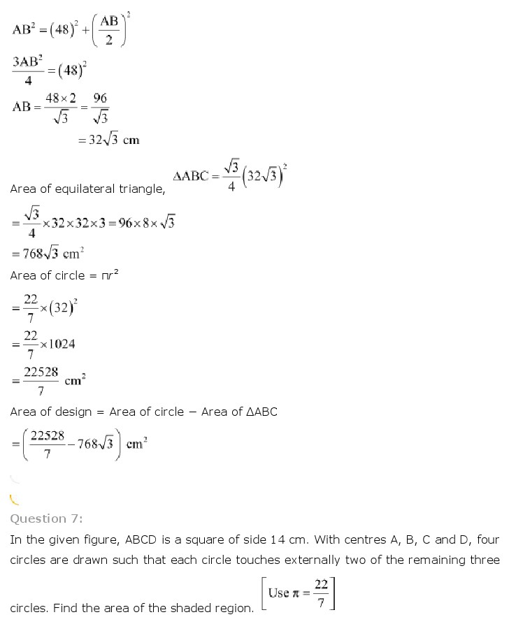 NCERT Solutions for Class 10th Maths: Chapter 12   Areas related to Circles