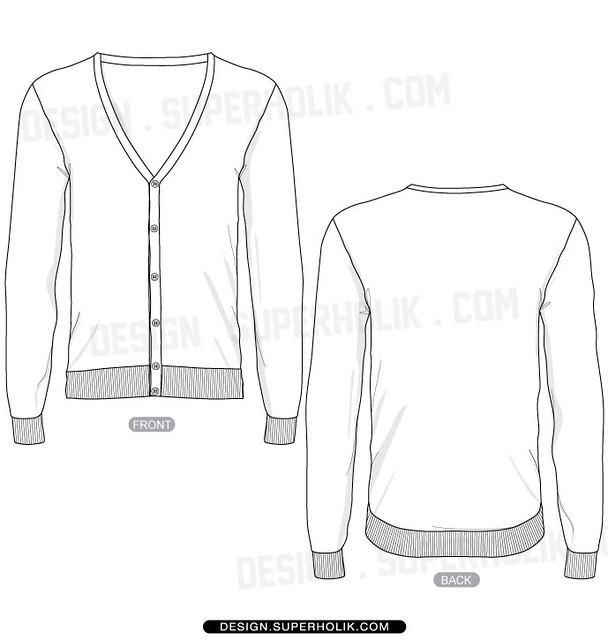 Sweater Vector Template - Bronze Cardigan