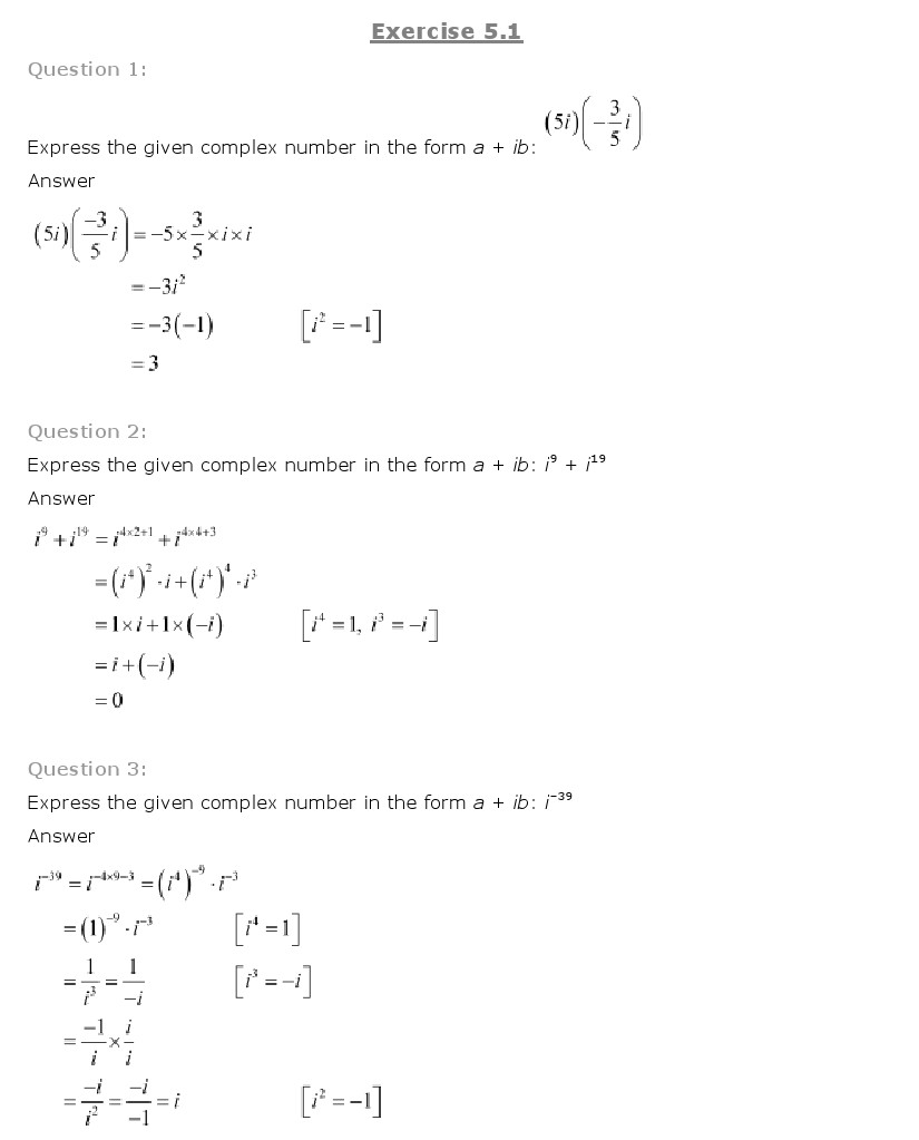 Chapter 5 – Complex Numbers and Quadratic Equations