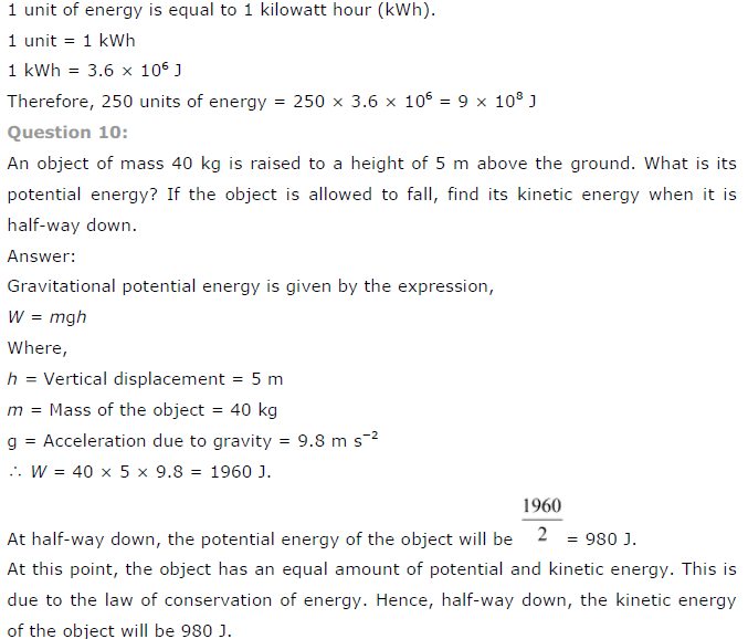 NCERT Solutions for Class 9th Science: Chapter 11 Energy and Work Image by AglaSem