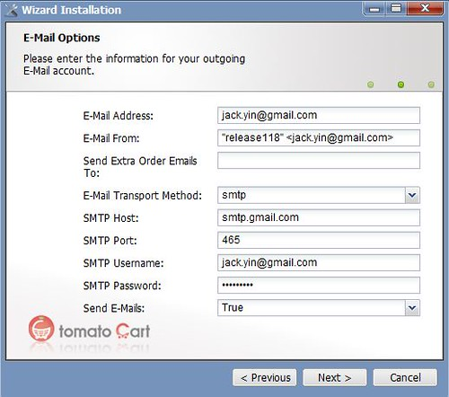 Email Configuration in Installation Wizard