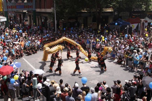 Dragon dance at the Melbourne Lion dance outside a Melbourne restaurant for Chinese New Year Festival