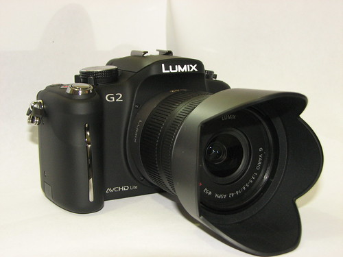 my new camera - lumix dmc g2 - left front view (with lens cap off)