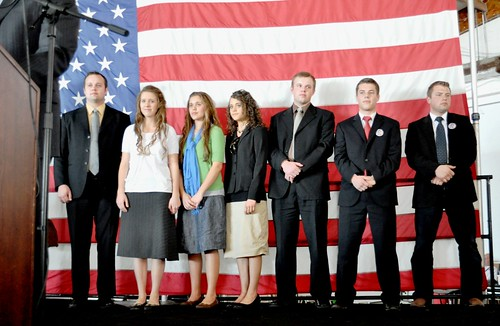 Members of the Duggar Family and Zach Bates during Rally for Republican Presidential Candidate Rick Santorum, Sarasota, Fla., Jan. 29, 2012