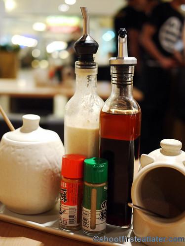 tonkatsu sauce, sesame dressing, soy vinaigrette, salt pig
