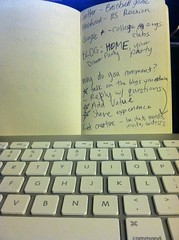 Handwritten notes + keyboard = blog post