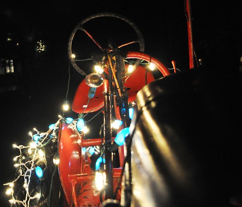 Dad's Red Tractor with Christmas Lights, Buffalo, N.Y., Dec. 2011