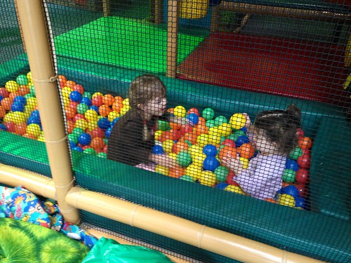 meghan and annie in the ball pit