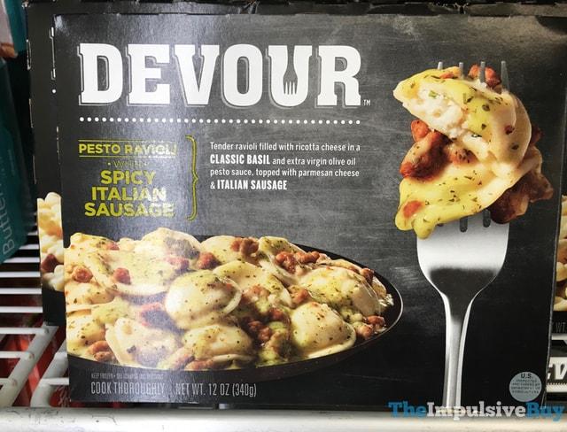 Devour Pesto Ravoli with Spicy Ialian Sausage