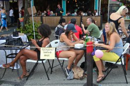 Restaurant seating spills on to the street during car free day