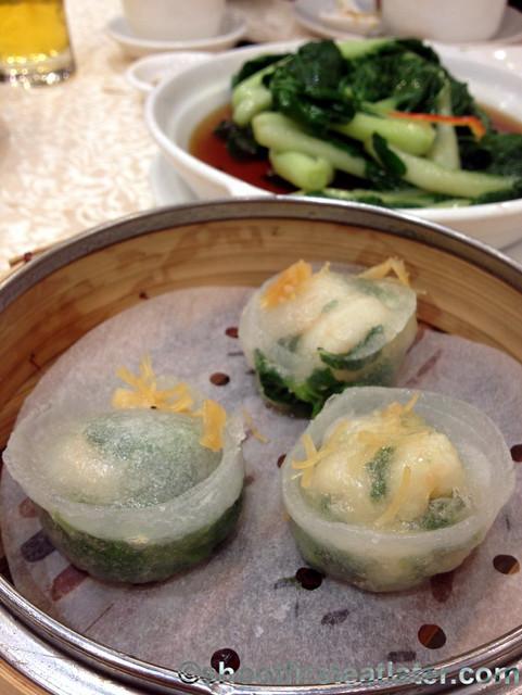 Chuk Yuen dim sum -steamed shrimp & pea shoot dumpling