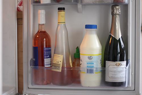 wine, milk, sriracha