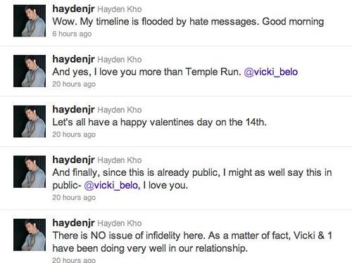 Hayden tweet