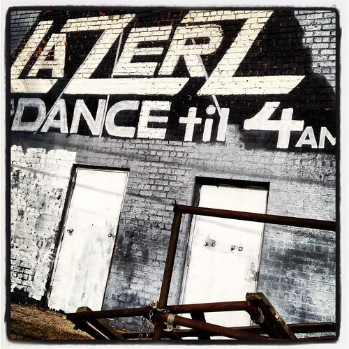 Lazerz Club Dance Brick Wall Deep Ellum Grey Black White Text Dallas Texas IMG_4406 by Dallas Photoworks