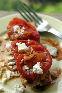 oven-roasted tomatoes with feta