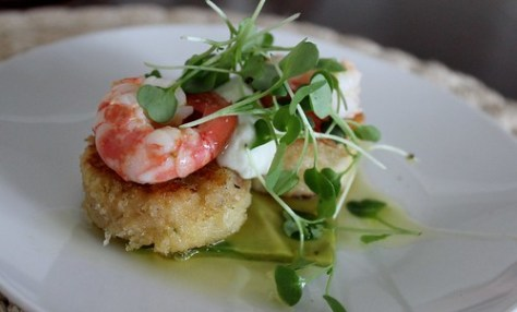Citrus crab cakes, olive oil poached spot prawns, pressed avocado