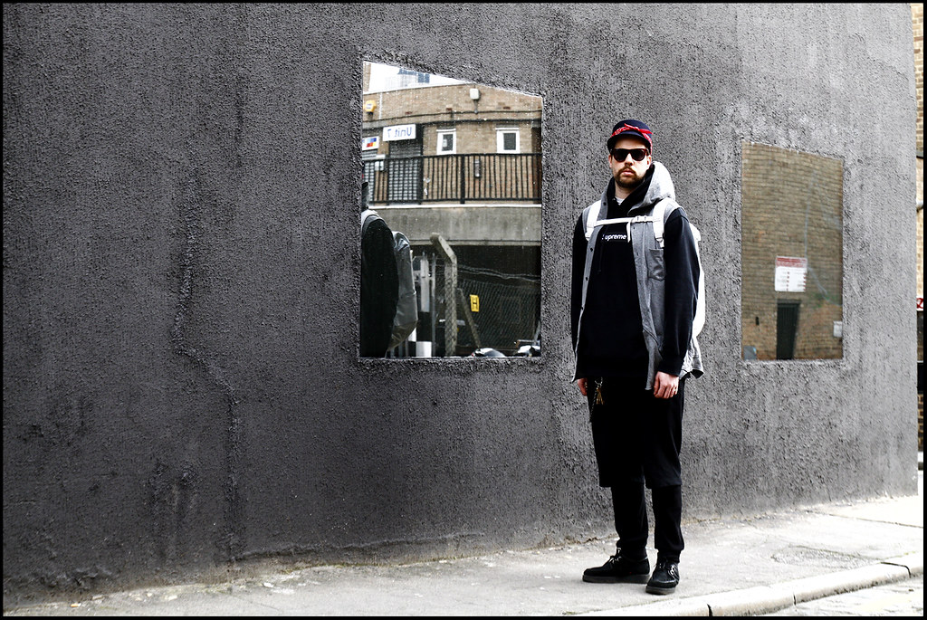 Tuukka13 - WDYWT - Weekend in London - East London Looks - Creepers, Shorts Over Leggings, Supreme Box Logo Hoody, Visvim Backpack, Bandana Cap, Undercover Vest, Bomber Jacket - 1