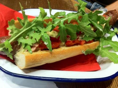 North African lamb hot dog