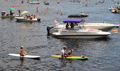21st Annual Charlotte Harbor Freedom Swim Across the Peace River Had Four-Legged Participants, Too; Charlotte Harbor to Punta Gorda, July 4, 2012