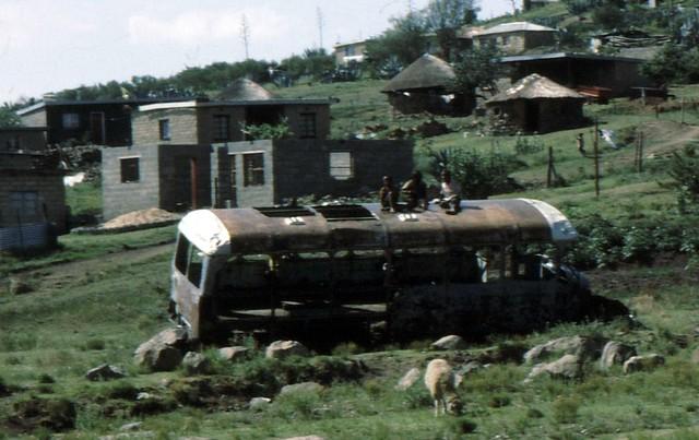 Lesotho, broken down bus