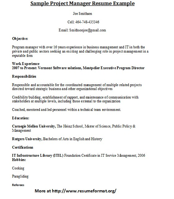 project manager sample resume it   cv templates wordproject manager sample resume it sample resume for a midlevel it project manager monster sample project