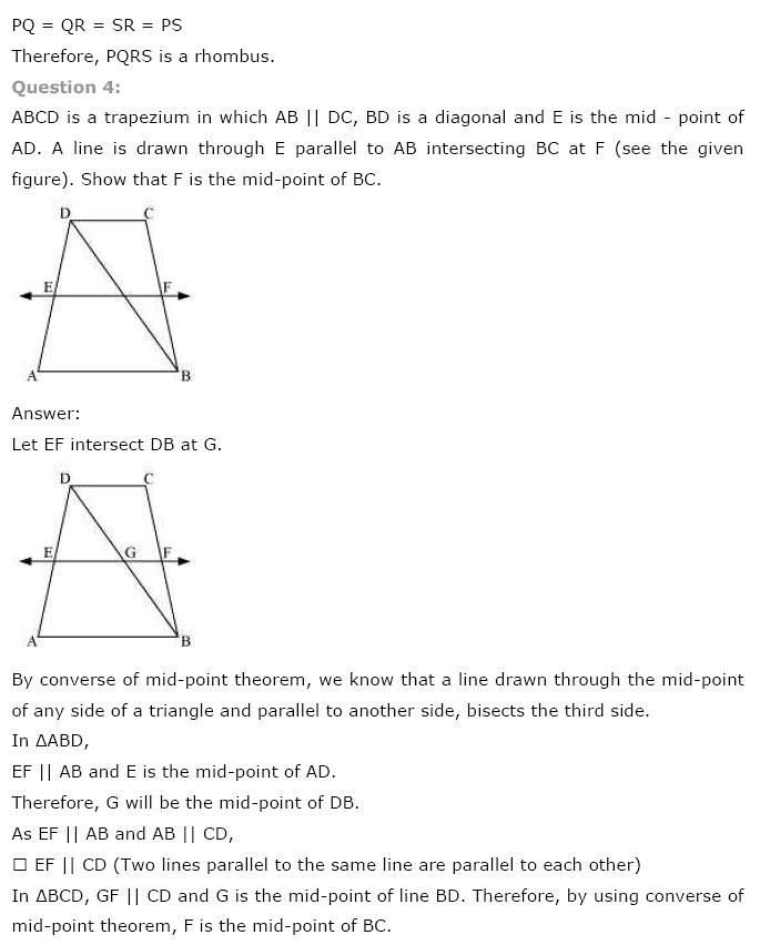 NCERT Solutions for Class 9th Maths: Chapter 8 Quadrilaterals