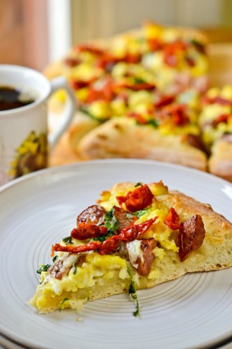 Smoked Sausage Breakfast Pizza-11