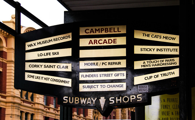 Campbell Arcade and Subway Shops Sign