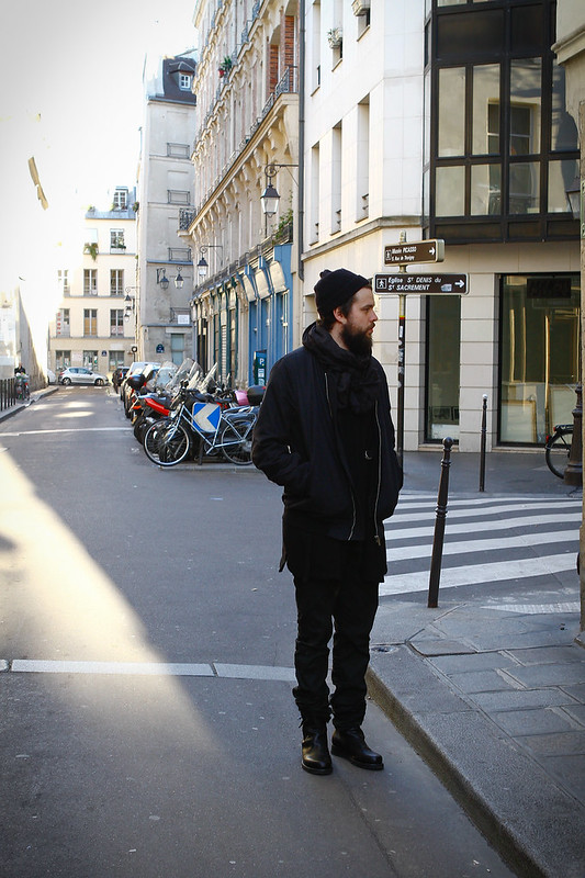 Tuukka13 -  WDYWT - Nicolas Andreas Taralis Boots and Jeans, Damir Doma SILENT Cardigan and Rick Owens MA-1 Bomber Jacket in Marais, Paris -1