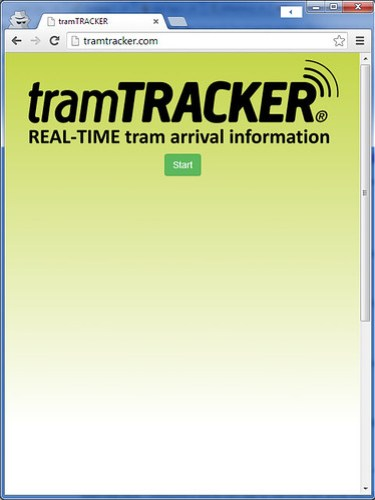 Useless home page of TramTracker