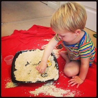 Being a good #messyplay mummy and trying @Ina ginationtree's cloud dough with glitter.