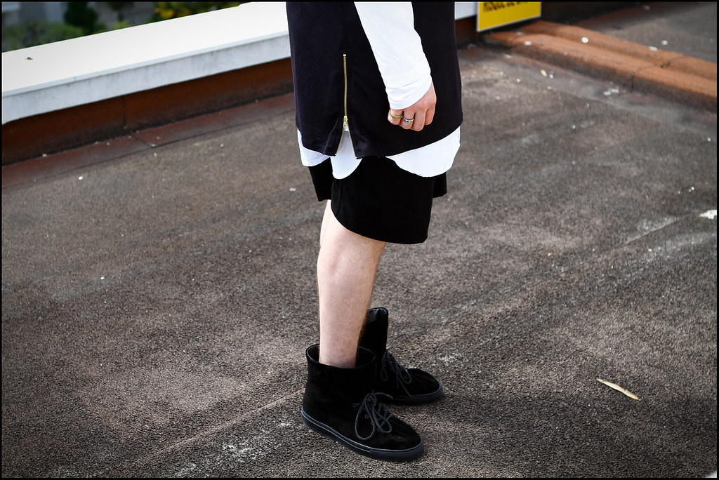 Tuukka13 - Greetings from Nice, France - WDYWT - Damir Doma Sneakers, Dries Van Noten Shorts and Apron, Givenchy Long Sleeve and ADYN Tall Zipper T-Shirt -2