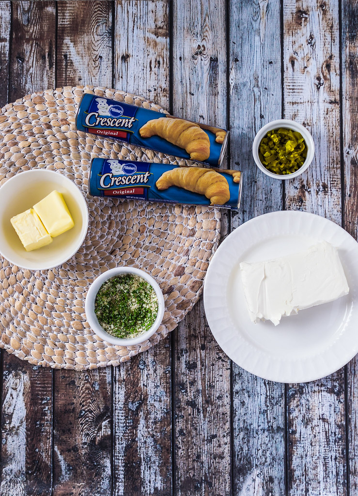 Garlic and Parmesan Crescents with Jalapeno Cream Cheese Ingredient Prep
