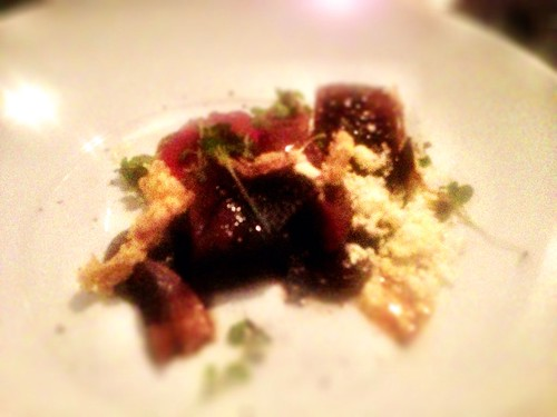 Braised beef short ribs, sous vide fillet with celeriac-forest mushroom textures