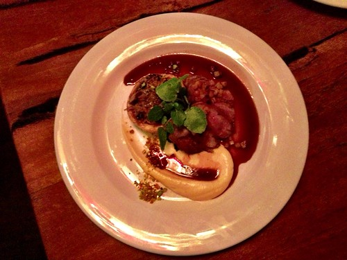 Pan roasted duck breast, confit duck & mushroom tart, parsnip puree, sautéed kale, pistachio brittle, plum jus