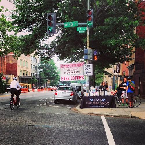 Free coffee for bike commuters @bikerackdc # bikedc