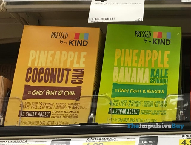 Pressed by Kind Fruit Bars (Pineapple Coconut Chia and Pineapple Banana Kale Spinach)