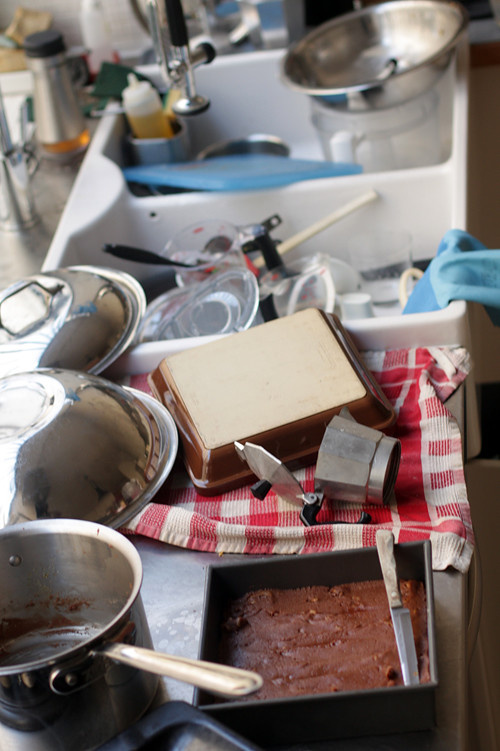 dishes and pots and pans